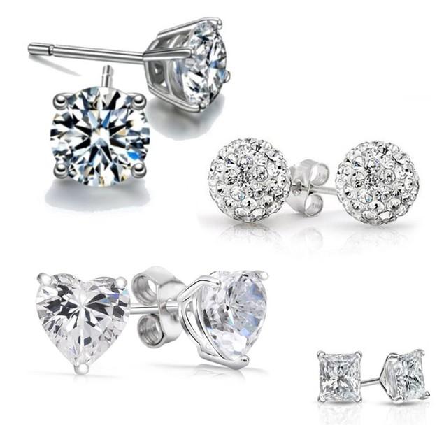 4 Pack: Austrian Crystal Sterling Silver Earrings