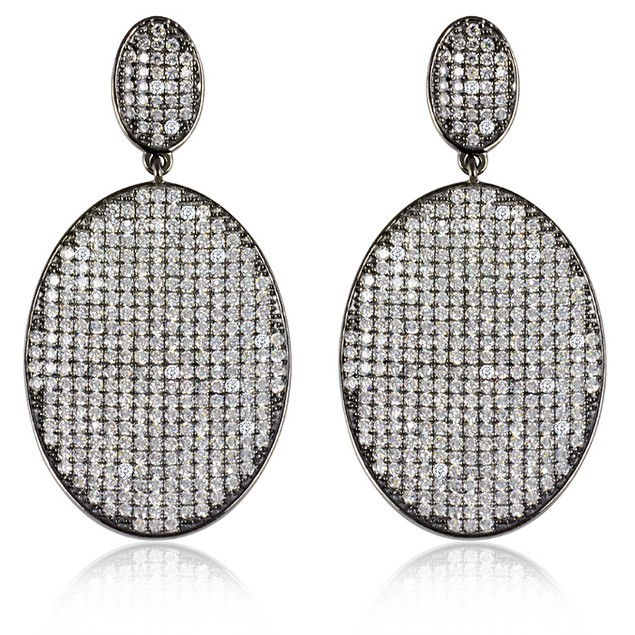 Black IP Plating Micro Pave Oval Drop Earrings