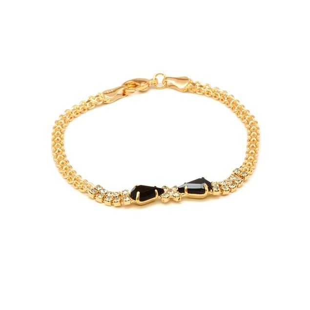 18K Gold & Jet Crystal Bow Bracelet