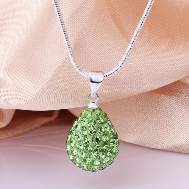 Solid Austrian Stone Pear Necklace - Vivid Emerald