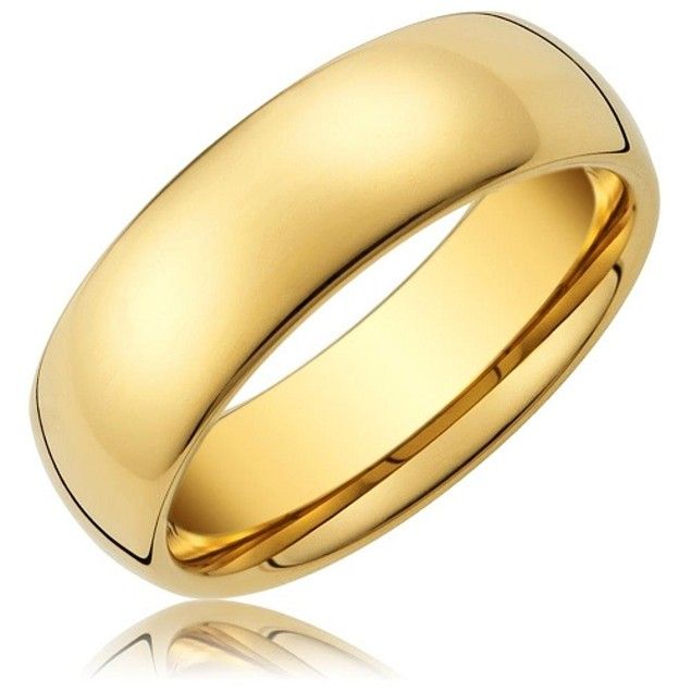 Gold Ip Tungsten Comfort Fit Men Ring