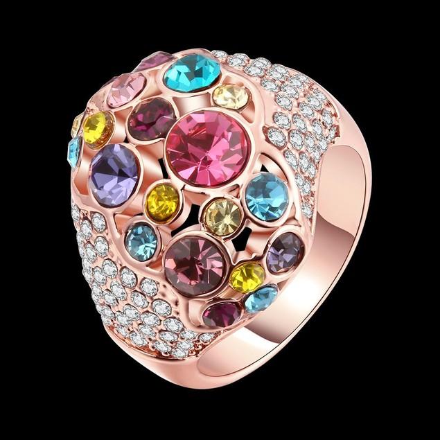 Rainbow Gem-Insert Rose Gold Plated Ring