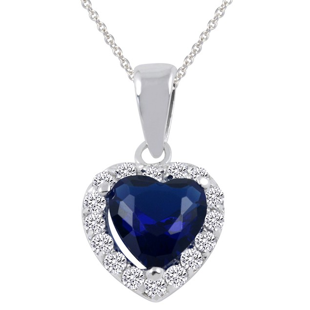 Sterling Silver Halo Crystal Heart Pendant