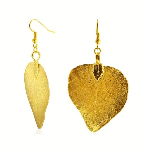 Heart Leaf Earrings Dipped in 24 Karat Yellow Gold