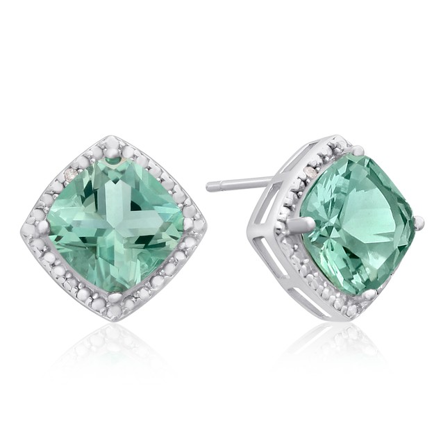3 3/4 Ct Green Amethyst and Diamond Earrings