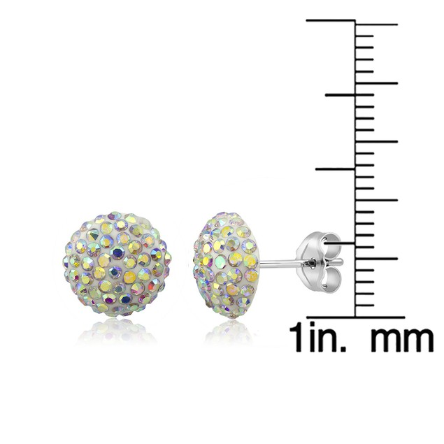 Sterling Silver Sparkling Crystal 10mm Stud Earrings - Round Rainbow