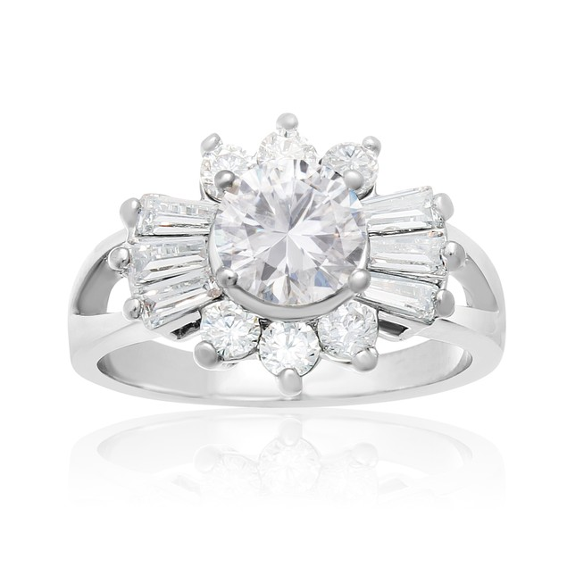 2 Carat Round Simulated Diamond Engagement Ring