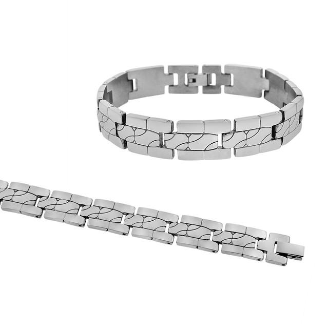 Men's Stainless Steel Tile Link Bracelet