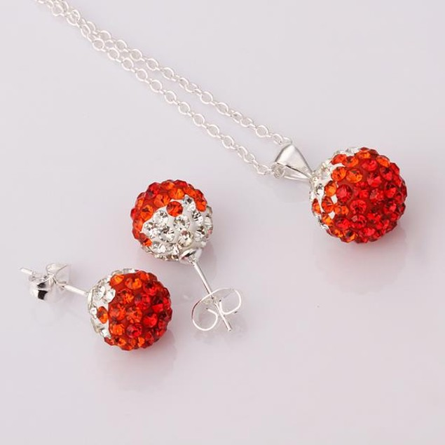 Austrian Stone Multi-Pave Earring Studs and Necklace Set - Red Crystal
