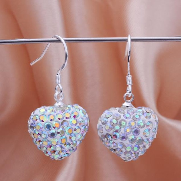 Heart Shaped Solid Austrian Stone Drop Earrings - Bright Crystal