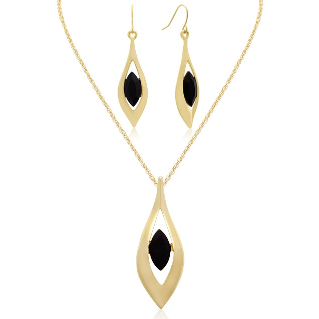 Black Crystal Drop Necklace with Matching Earrings