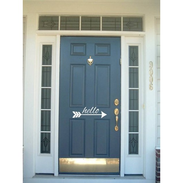 Hello Arrow Vinyl Door Decal
