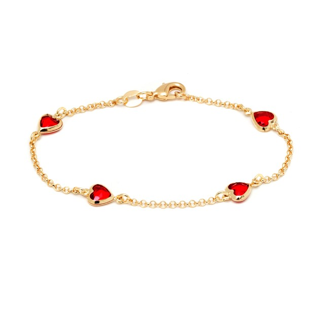 18K Gold & Ruby Crystal Heart Bracelet