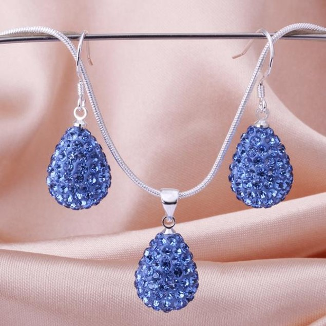 Austrian Stone Solid-Pave Pear Earring and Necklace Set - Blue Crystal