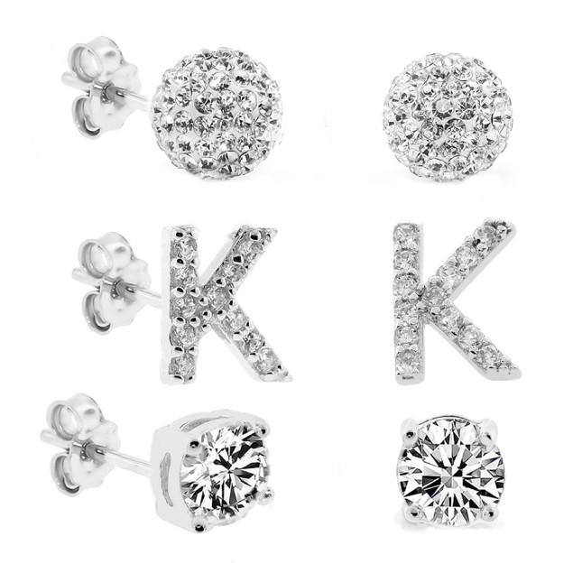3-Piece Set: Initial Stud Earrings with Swarovski Elements - K
