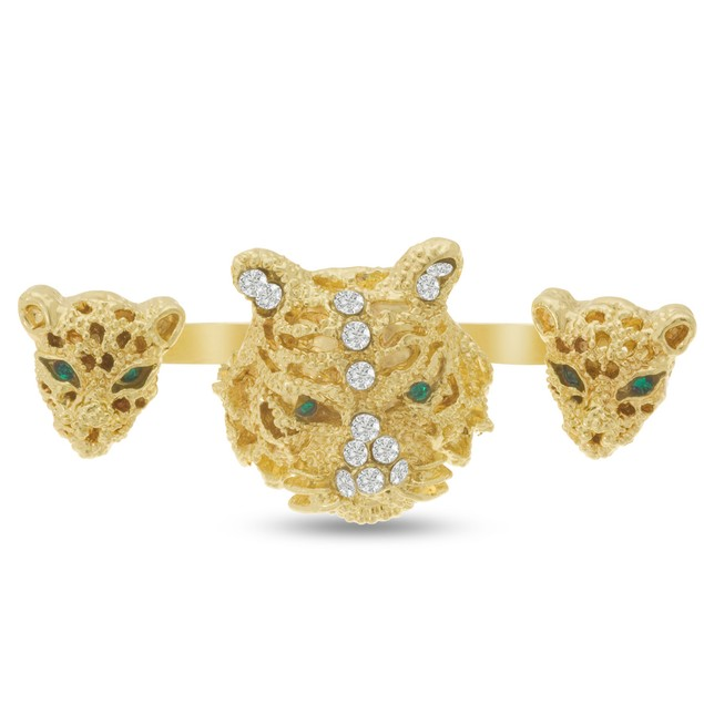 Crystal Tiger Double Finger Ring