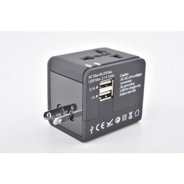 Universal Voltage Adapter & Dual-USB Charger