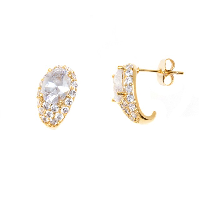 Gold and Crystal Earrings Made with Swarovski Elements
