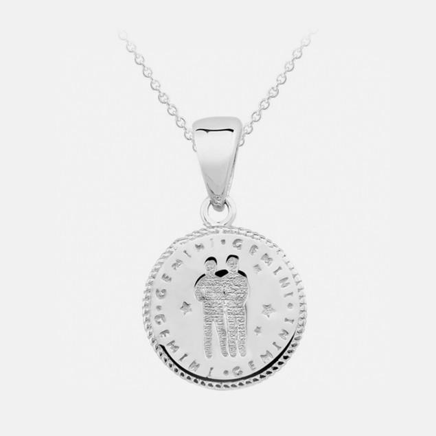 Inspired Sterling Silver Zodiac Pendant - Gemini