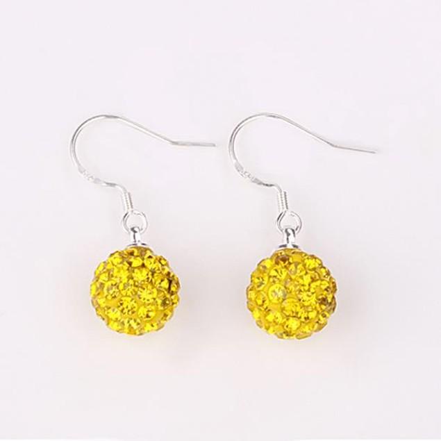 Vivid Light Austrian Stone Yellow Citrine Drop Earrings