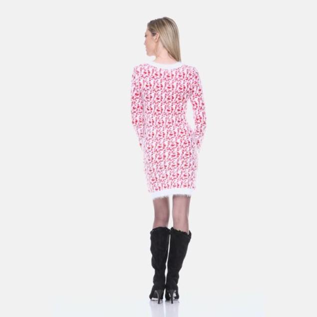 White Mark Red Leopard Sweater Dress