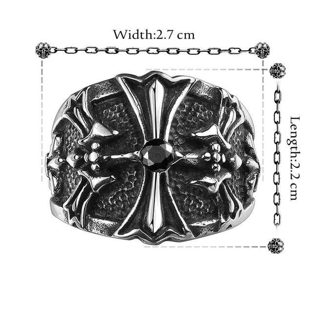 Stainless Steel Cross Emblem Ring