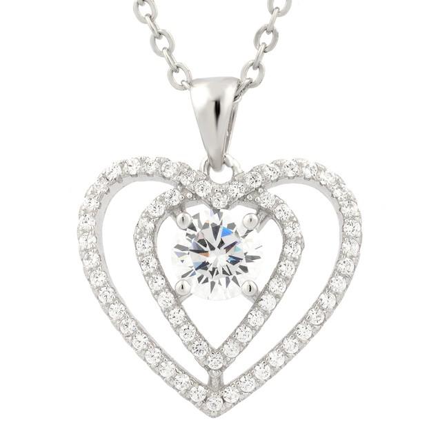 Sterling Silver Simulated Diamond Interlocking Double Heart Center Stone Pendant