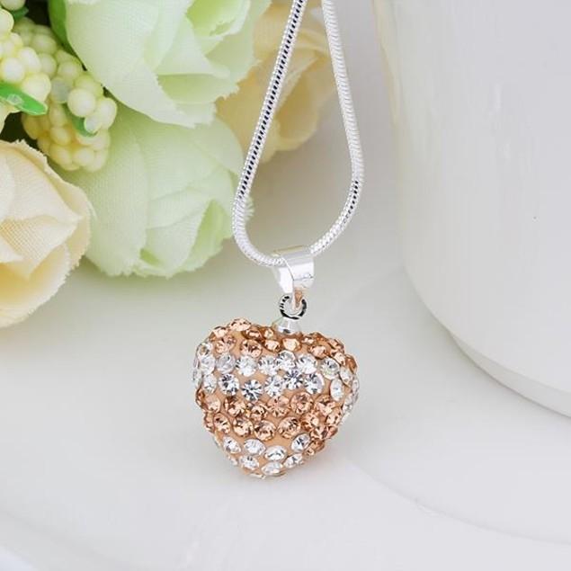 Multi-Toned Austrian Stone Heart Shaped Necklace - Vivid Bright Champagne