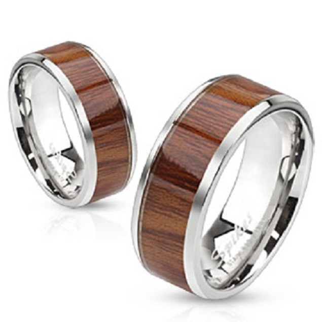 Wood Pattern Center Stainless Steel Ring