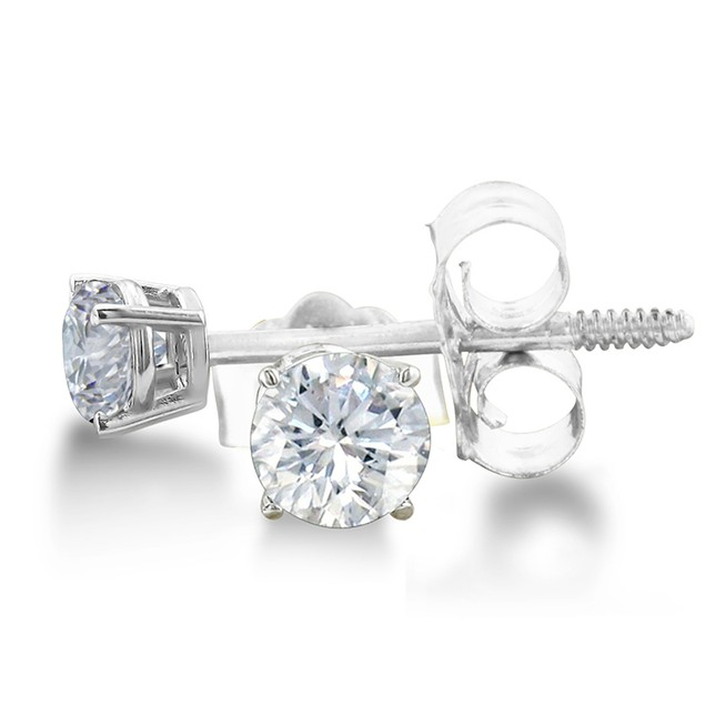 Certified 1/3ct Natural Genuine Diamond Stud Earrings In 14 Karat White Gold