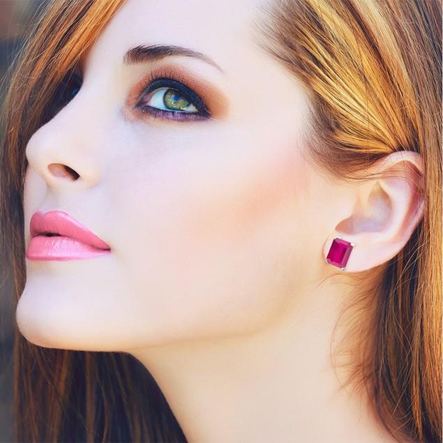 3ct Emerald Cut Indian Ruby Earrings
