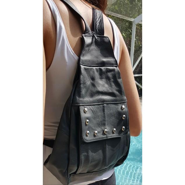 Afonie Leather Backpack Convertible Shoulder Strap