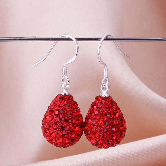 Pear Shaped Solid Austrian Stone Drop Earrings - Red