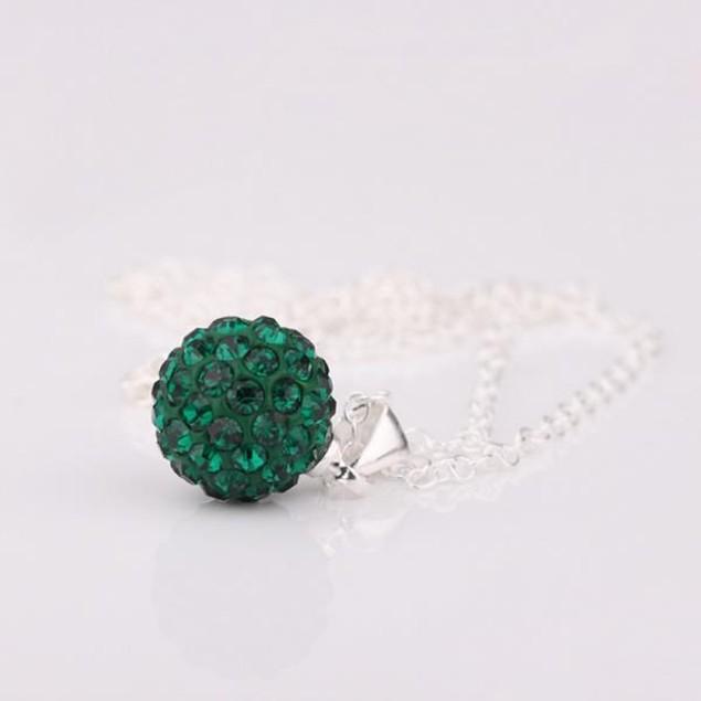 Solid Austrian Stone Pendant - Bright Royal Green