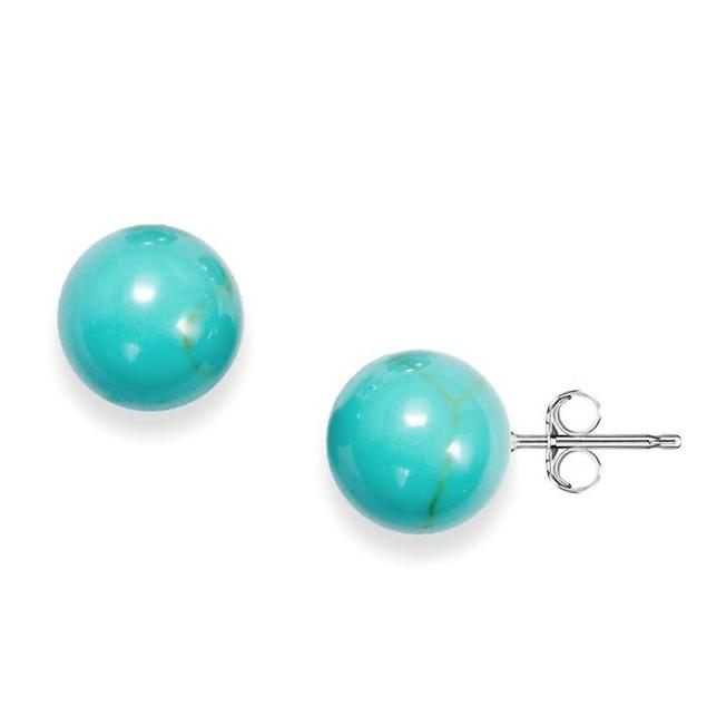8mm Genuine Turquoise Ball Stud Earrings
