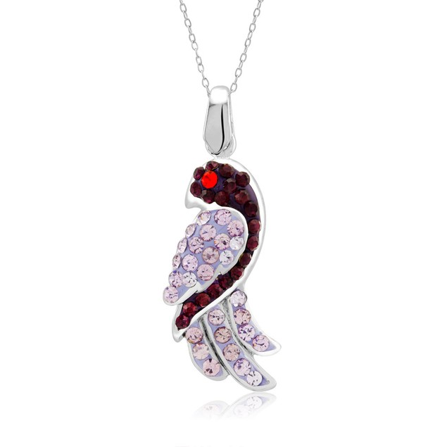 Sterling Silver Crystal Dazzling Parrot Necklace