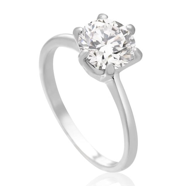1 1/2 Carat 6 Prong Simulated Diamond Engagement Ring
