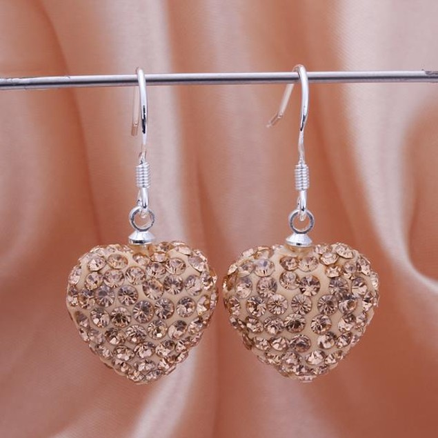 Heart Shaped Solid Austrian Stone Drop Earrings - Bright Champagne