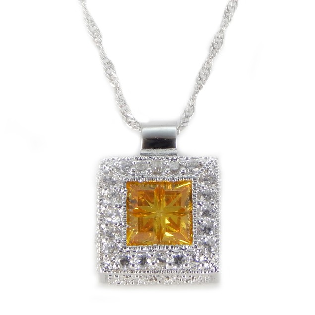 Sterling Silver Necklace Yellow Cubic Pendant