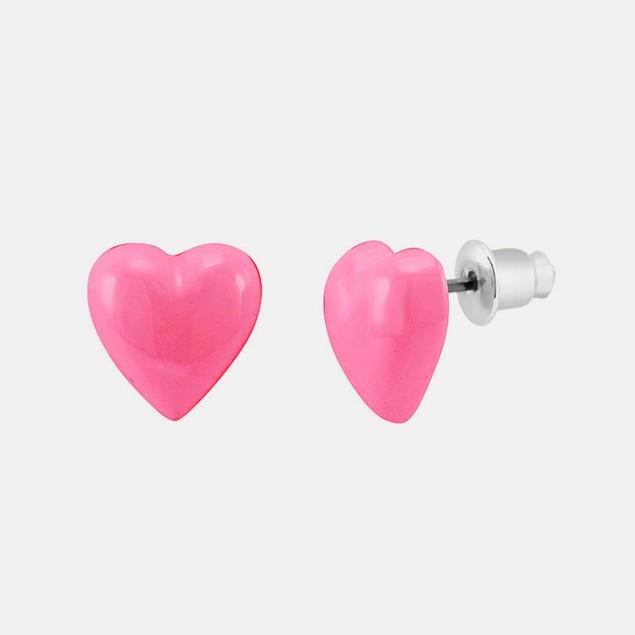 Enamel Heart Stud Earrings - Fuchsia