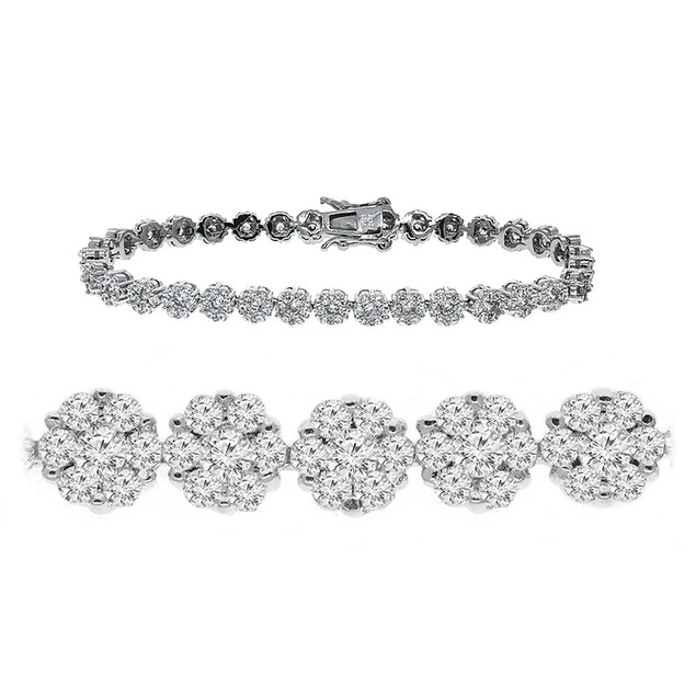 Sterling Silver Flower Design Tennis Bracelet