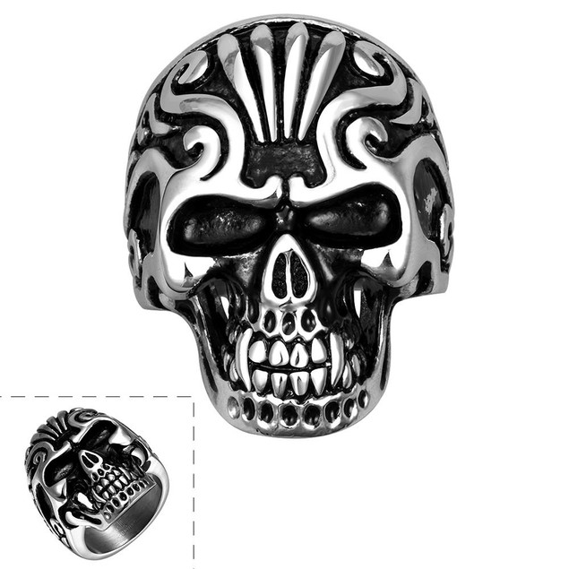 Singular Stainless Steel Skull Ring