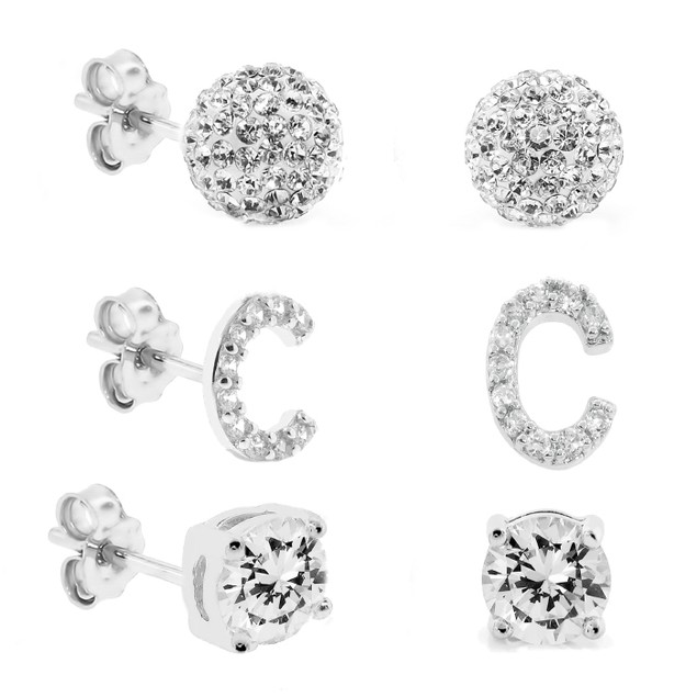 3-Piece Set: Initial Stud Earrings with Swarovski Elements - C