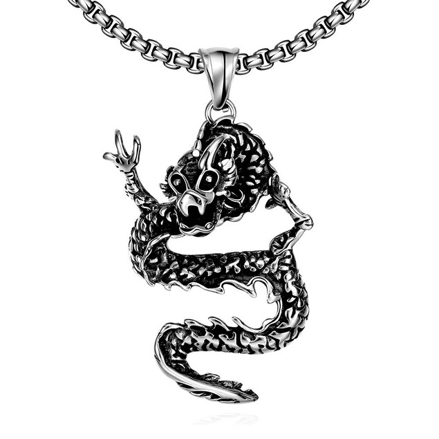 Alpha Steel Stainless Steel Dragon Necklace