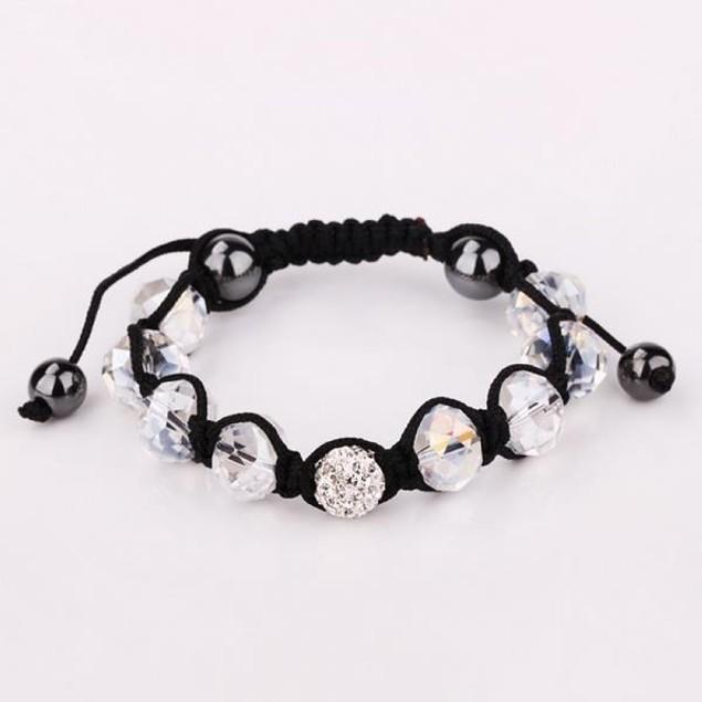 Disco Ball Austrian Crystal Strap Bracelet & Gemstone Beads -Ivory