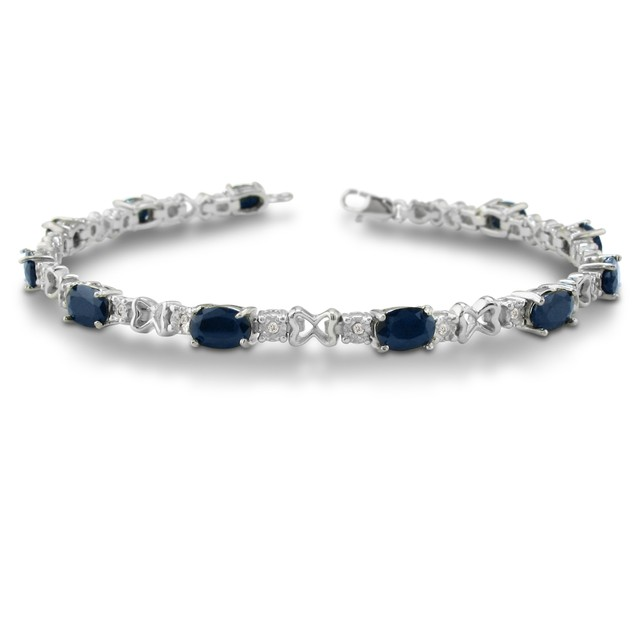7 1/2ct Sapphire & Diamond Bracelet in Sterling Silver