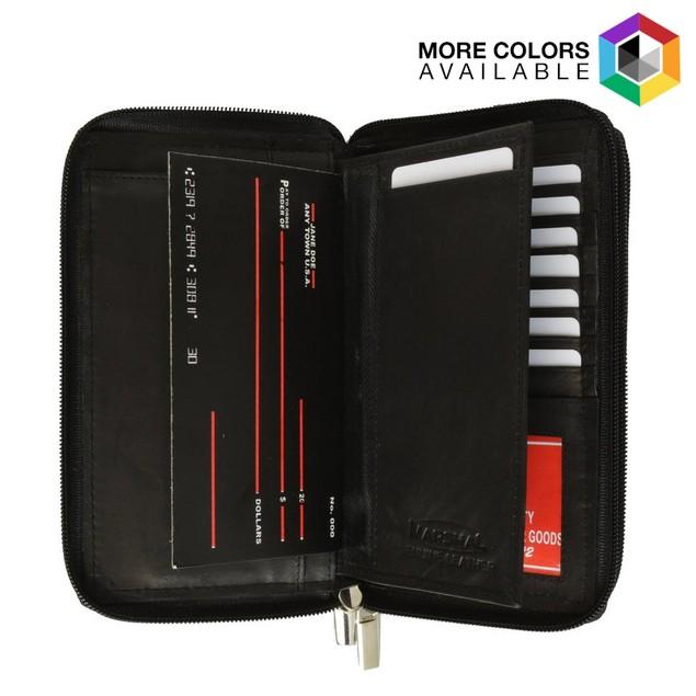 Afonie Checkbook Organizer Genuine Leather Zip Around Clutch Wallet