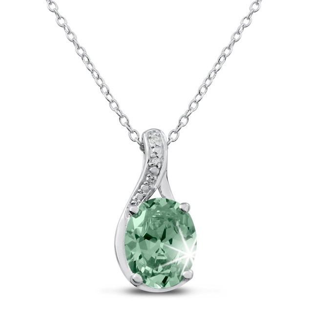 2 3/4ct Green Amethyst and Diamond Necklace In Sterling Silver