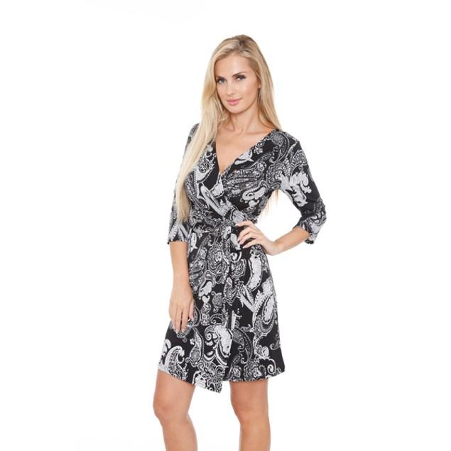 White Mark Women's 'Mariah' Wrap Dress - Paisley