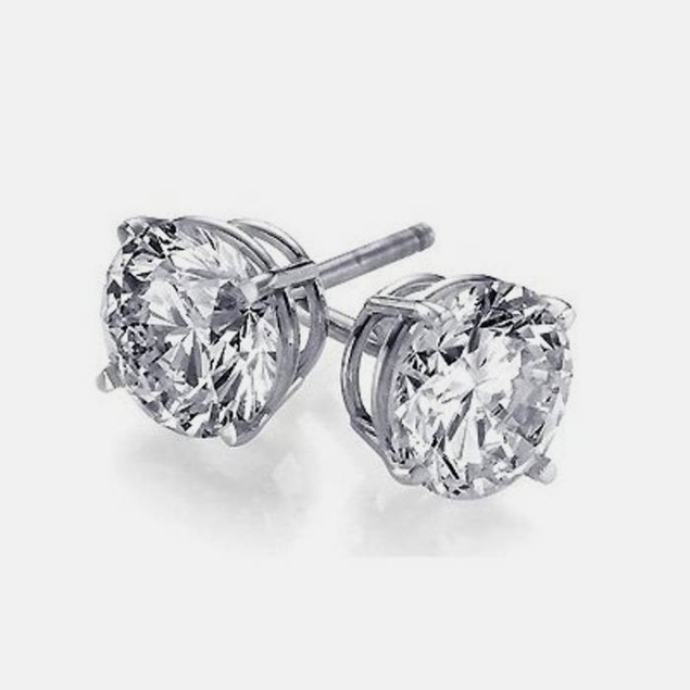 Sterling Silver 6mm Rounded Cubic Zirconia Stud Earrings